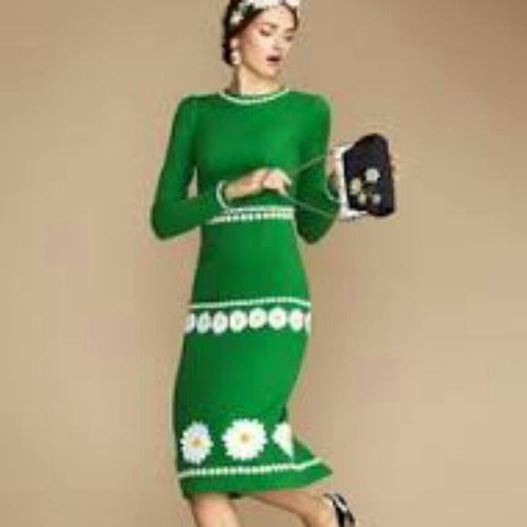 d98726b0fb6 Dolce   Gabanna green daisy embroidered dress. NWT. Dolce   Gabbana.  1858   5899. Size